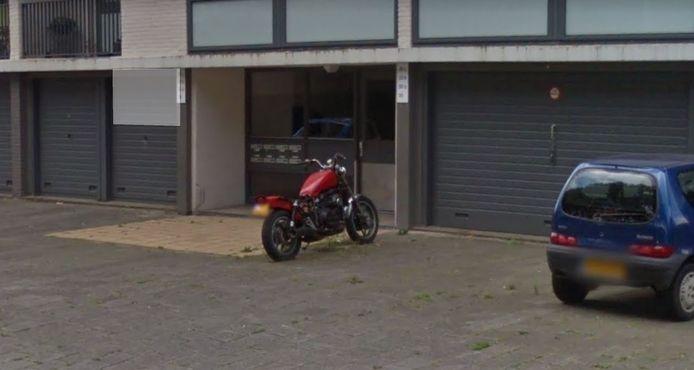 De bewuste motorfiets, zonder zadel en met groeiend groen er omheen.