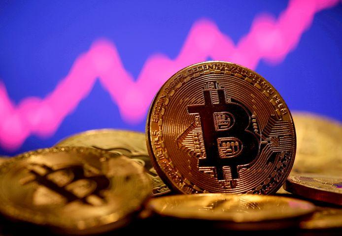 Afbeelding van de bitcoin, die niet tastbaar is, de bekendste cryptomunt.