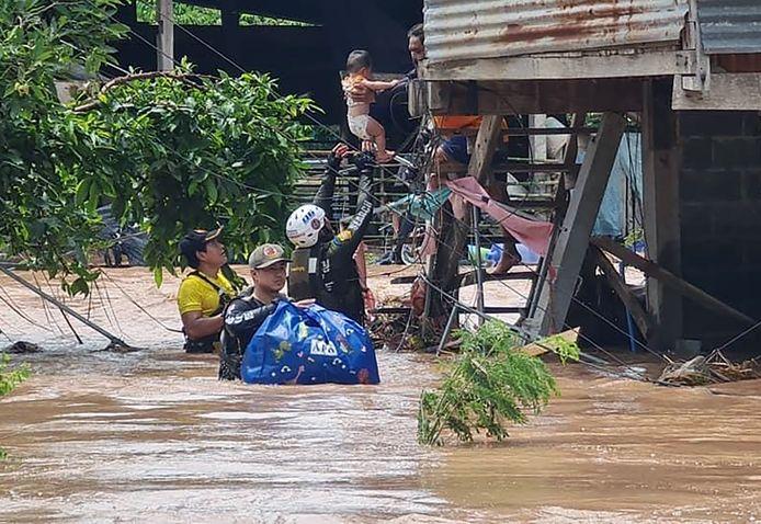 Beeld van de overstromingen in de provincie Lopburi.