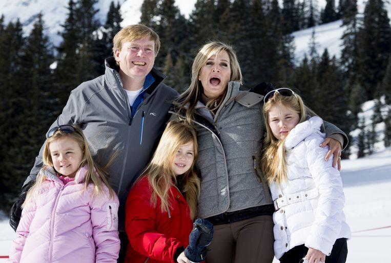 Met de hele familie in Lech, februari 2015. Beeld anp