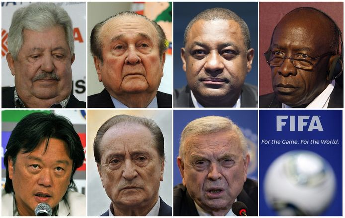 Van links naar recht, bovenste rij eerst: Rafael Esquivel, Nicolas Leoz, Jeffrey Webb, Jack Warner, Eduardo Li, Eugenio Figueredo en Jose Maria Marin.