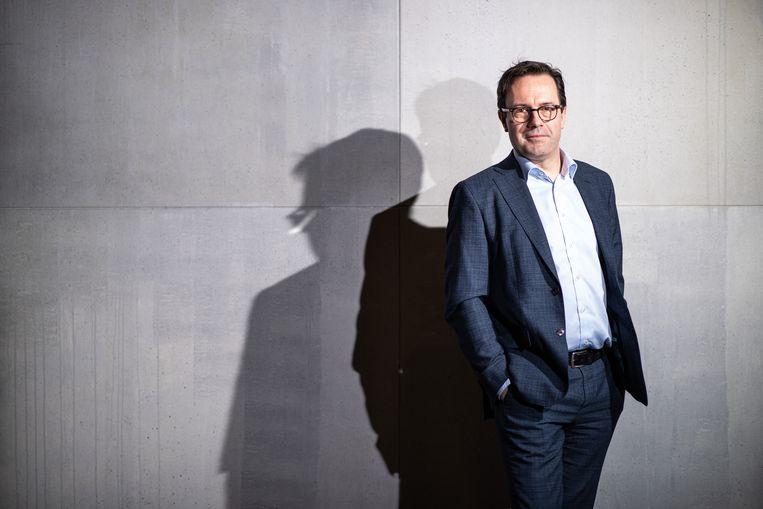 VRT-CEO Frederik Delaplace: 'Martine, Michel en vele anderen hebben ooit de kans gekregen om zich bij de VRT te lanceren omdat iemand anders plaats maakte voor hen.' Beeld Wouter Maeckelberghe