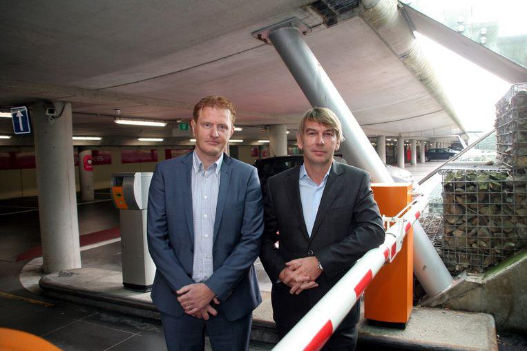 Peter Lammens en Alain De Backer van parkeerbedrijf OPC in de parking onder de Grote Markt.
