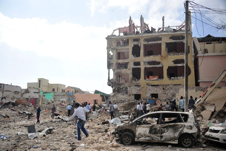 Op 25 januari voerde Al-Shabaab een aanval uit op een hotel in de Somalische hoofdstad Mogadishu.  Beeld AFP