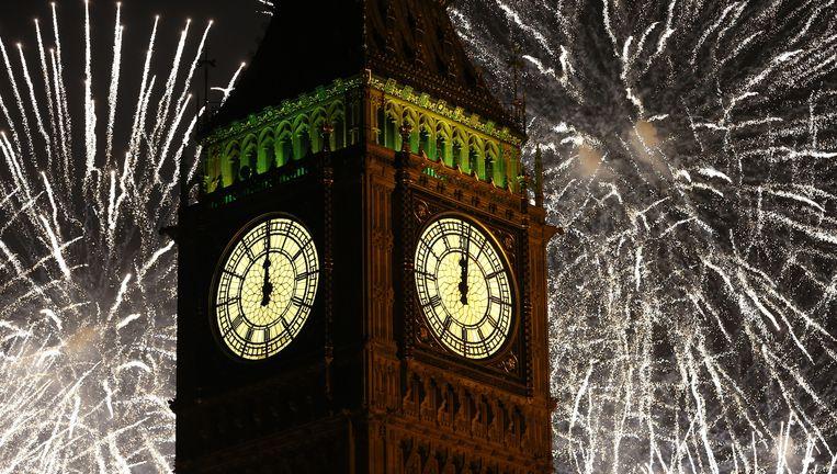 Het vuurwerk in Londen op 1 januari 2015. Beeld AP