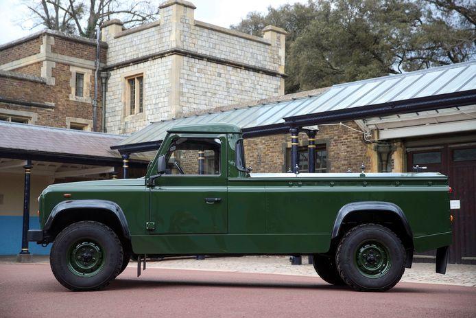 Een foto van de Land Rover die gebruikt zal worden om de kist van prins Philip te vervoeren.