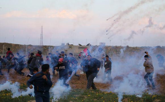 Protest aan de grens met de Gazastrook op 22 februari 2019.