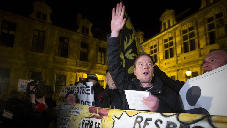 (Archiefbeeld) Een bijeenkomst van Pegida Vlaanderen in maart eerder dit jaar. Beeld BELGA
