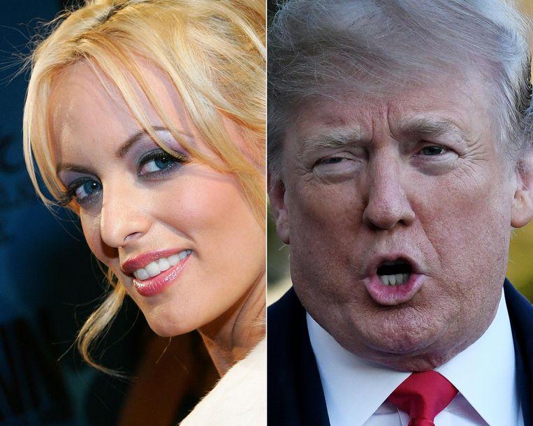 Stormy Daniels houdt vol dat ze een passionele nacht beleefde met Donald Trump, toen presidentskandidaat. Trump ontkent. Beeld AFP