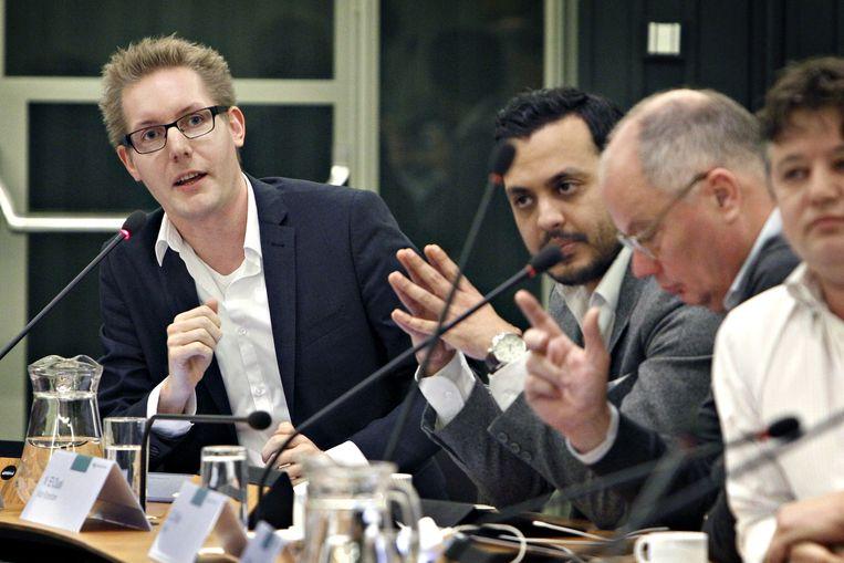 Arno Bonte (links) in zijn tijd als Rotterdams gemeenteraadslid.  Beeld Sanne Donders