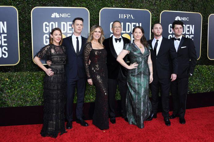 De familie Hanks op de Golden Globes 2020: Samantha Bryant, Colin Hanks, Rita Wilson, Tom Hanks, Elizabeth Ann Hanks, Chet Hanks, en Truman Theodore Hanks