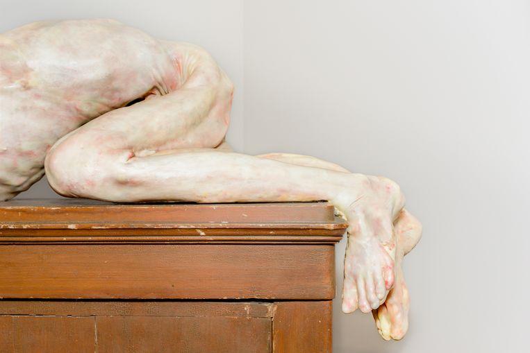 Detail van 'Per Benedetto', een van De Bruyckeres vroegere wassculpturen, uit 2009  Beeld Sas Schilten