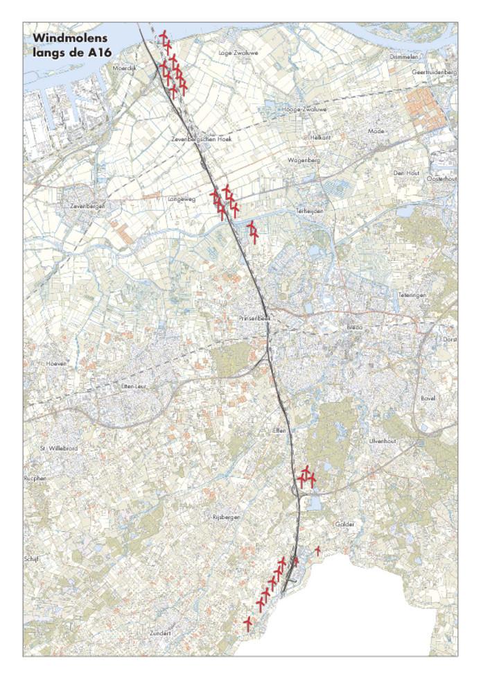 Het windmolenpark langs de A16: 28 turbines tussen Hazeldonk en de Biesbosch die eind 2020 zouden moeten gaan draaien.