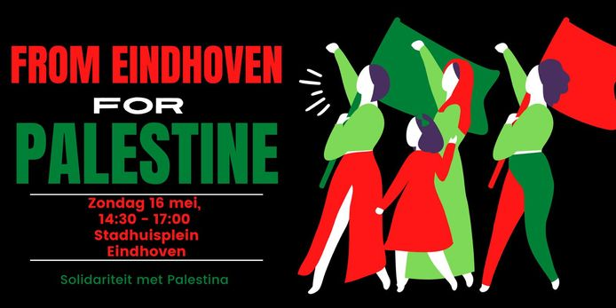 Poster voor de demonstratie voor Palestina in Eindhoven.