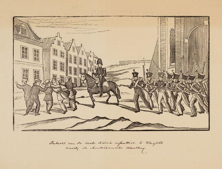 Intocht van de derde divisie infanterie te Hasselt. Beeld Stadsarchief