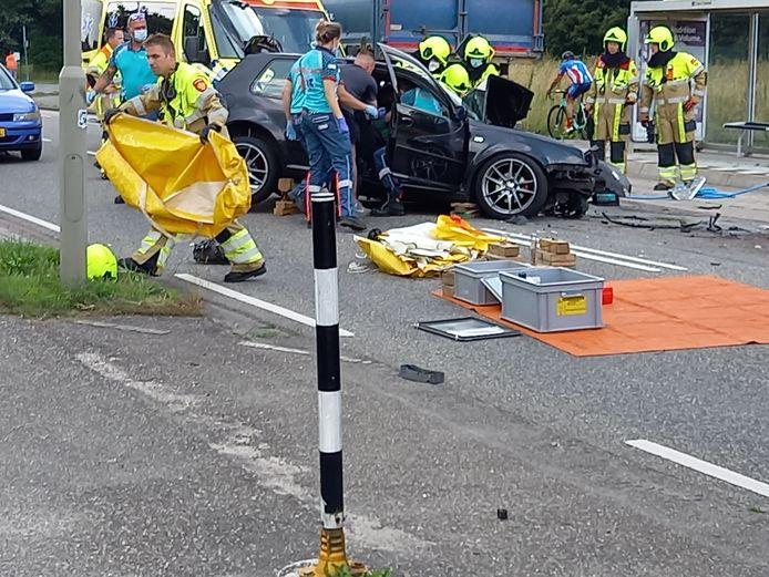 De hulpdiensten rukten massaal uit naar het ongeluk.