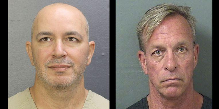 Arrestantenfoto's van twee van de vier vermeende exploitanten van de website Mugshots.com, die geld vraagt voor het van internet verwijderen van politiebeelden van verdachten. Beeld Palm Beach Sheriff's Office/Broward County Sheriff's Office