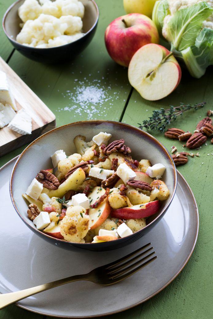 Gebakken bloemkool met appel en brie