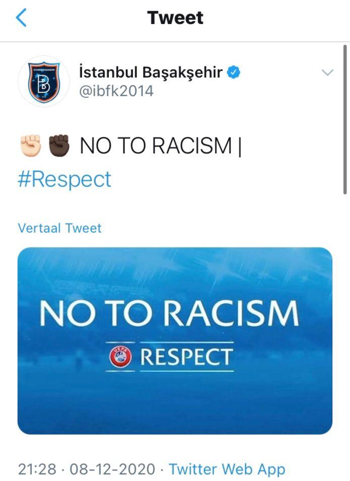 De tweet van Istanbul Basaksehir.