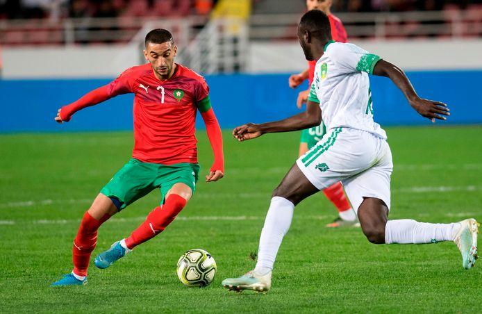 Hakim Ziyech in actie namens Marokko tegen Mauritanie op 15 november 2019.