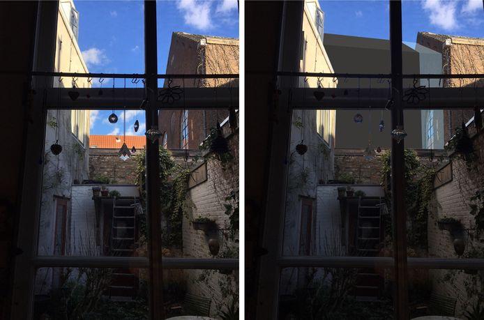 Buurvrouw Marijke Welles verliest door de aanbouw van de Kunstkerk het laatste vrije uitzicht vanuit haar achterraam.