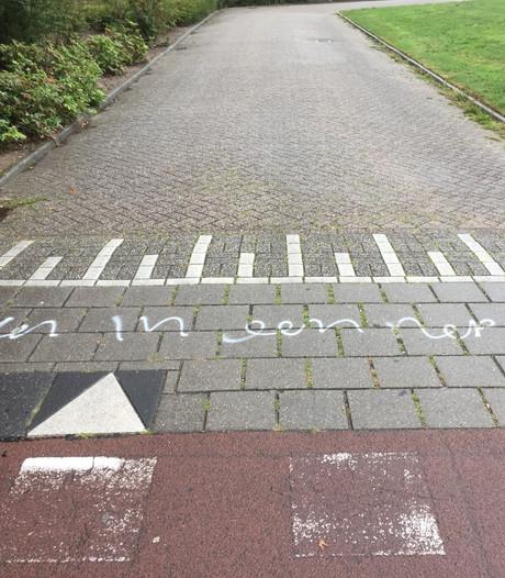 Vreemde graffiti duikt  overal op in de Maten in Apeldoorn