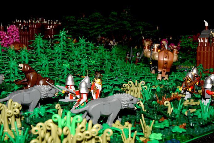 Een detail van een van de vele LEGO-creaties die te bewonderen was.
