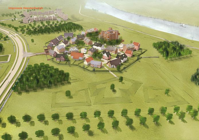 Impressie Heesterburgh, met op de achtergrond een impressie van Oeverhuijze.