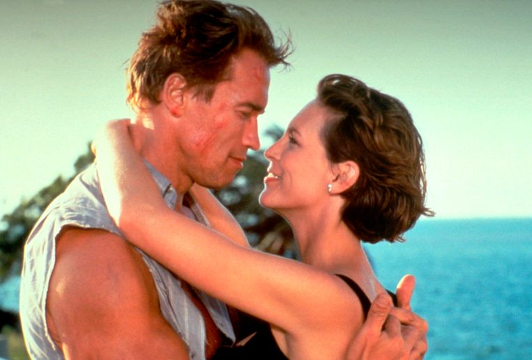 Arnold Schwarzenegger en Jamie Lee Curtis in True Lies. Beeld