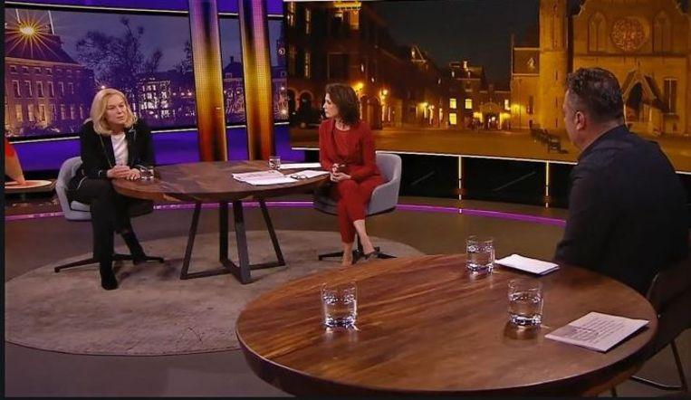 Partijleider Sigrid Kaag en raadslid Osman Bosuguy bij de Nieuwsuur-uitzending. Beeld Nieuwsuur