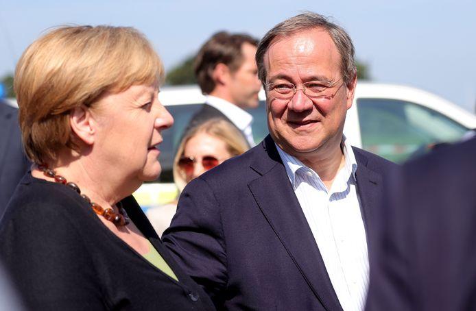 Bondskanselier Angela Merkel en haar beoogde opvolger, Armin Laschet.