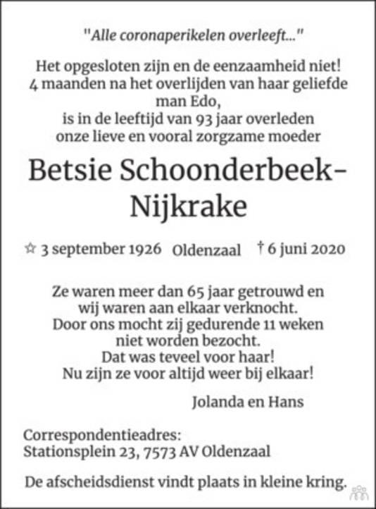 De overlijdensadvertentie uit deze krant