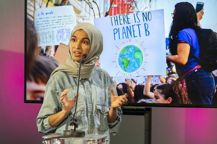 Kauthar Bouchallikt tijdens een verkiezingsdebat over het klimaat.  Beeld ANP