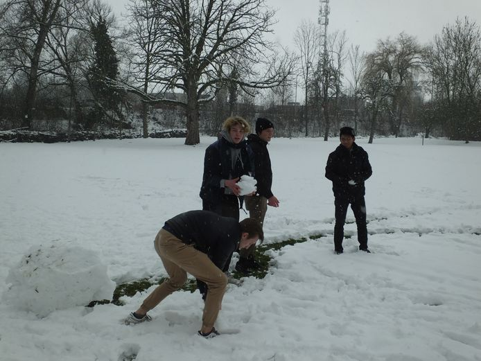 Het sneeuwballengevecht in het Kaandelpark.