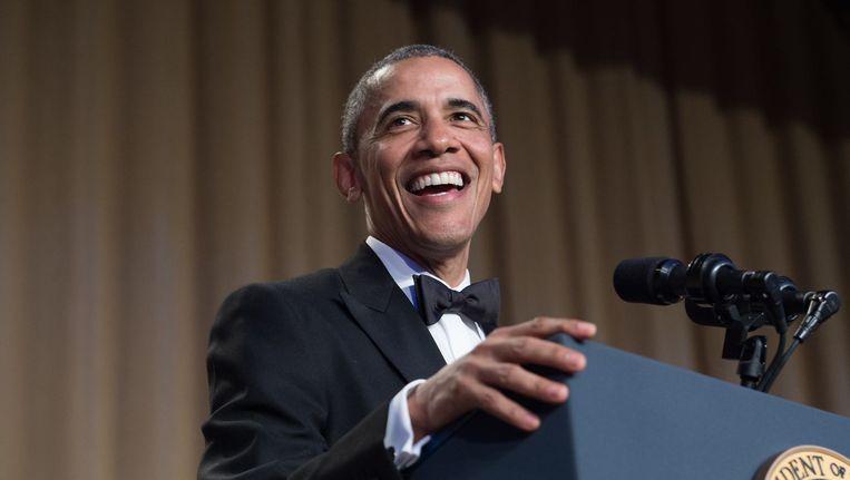 President Obama tijdens zijn laatste Correspondents Dinner Beeld anp