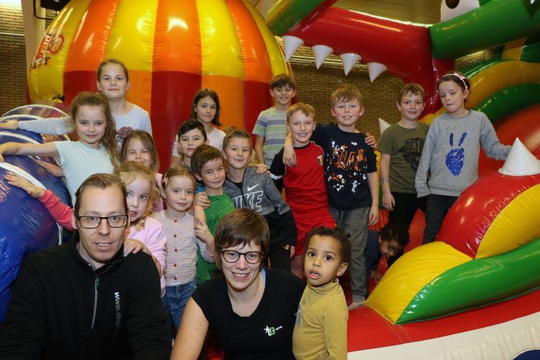 Nick Stesses van de Springplaneet en Mieke Verheyen, uitbaatster van 't Gildenhuis, blikken erg tevreden terug op de tweedaagse kinderfeest.