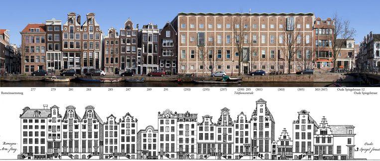 Herengracht, met rechts de massieve telefooncentrale, die de plek van zeven panden innam Beeld Erwin Meijers