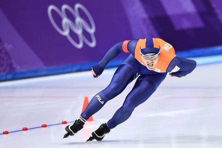 Jan Smeekens schaatst de 500 meter tijdens de Olympische spelen in  Pyeongchang.  Beeld AFP