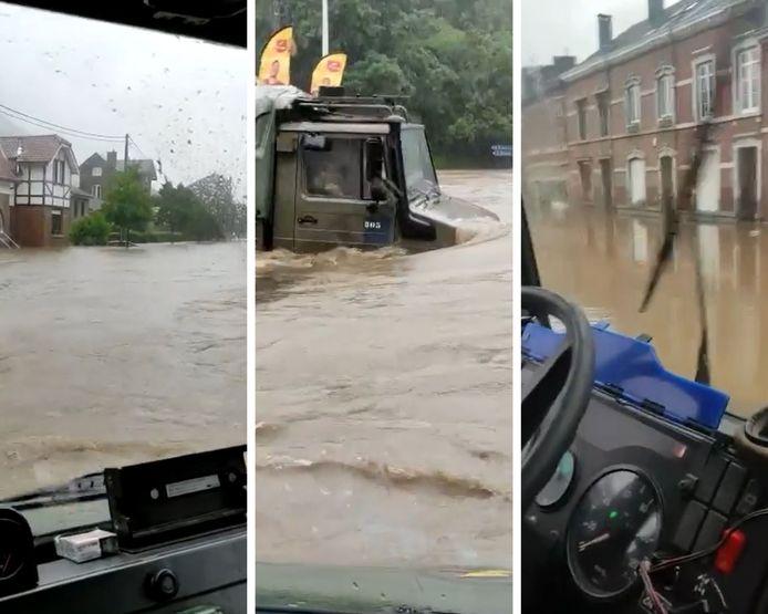 Intervention de la brigade motorisée du Bataillon 12e de Ligne Prince Léopold - 13e de Ligne dans les rues inondées de la province de Liège.