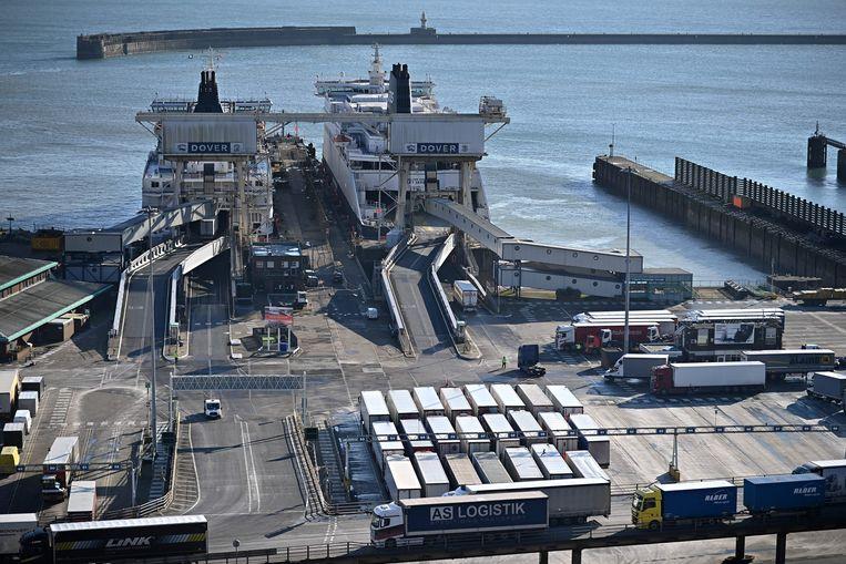 De haven van Dover in het zuidoosten van Engeland. Het vrachtverkeer tussen Dover en Calais is afgelopen maand met eenderde afgenomen. Beeld AFP