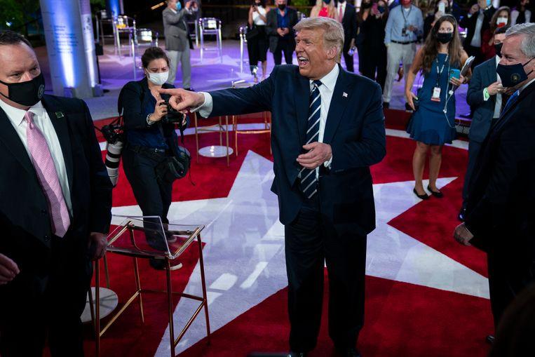 President Donald Trump spreekt met het publiek na het vragenuurtje van NBC News Town Hall in Miami.  Beeld AP