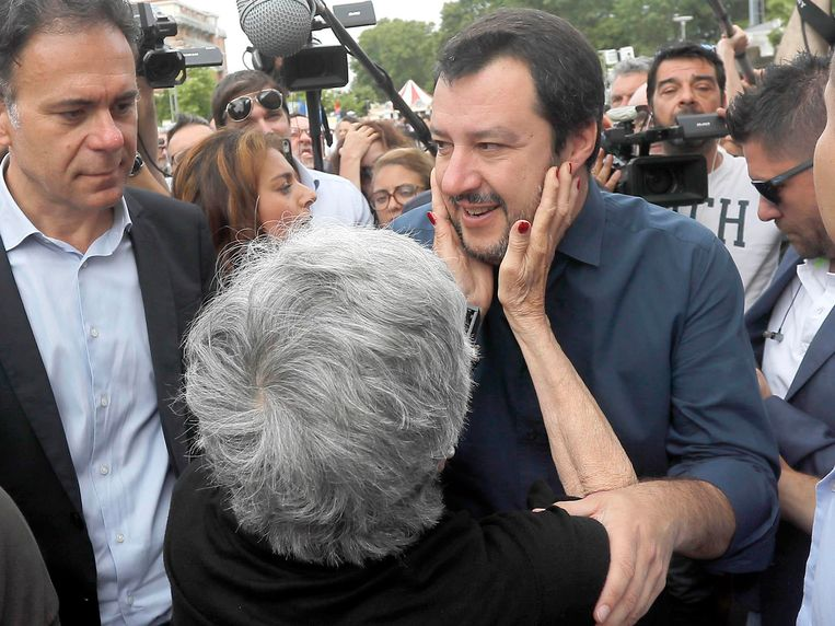 Matteo Salvini, leider van de Lega, reageerde woedend op de uitspraken van Oettinger. Beeld AP