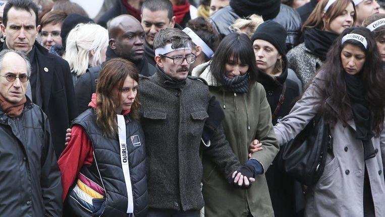 Luz, centraal, zondag op de manifestatie in Parijs. Beeld PHOTO_NEWS