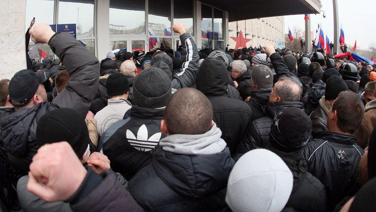Pro-Russische demonstranten in de Oekraïnse stad Donetsk. Beeld anp