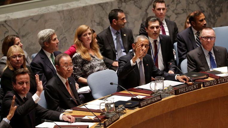 Cameron, Ban Ki-moon en Obama tijdens de V-raad vanavond. Beeld epa