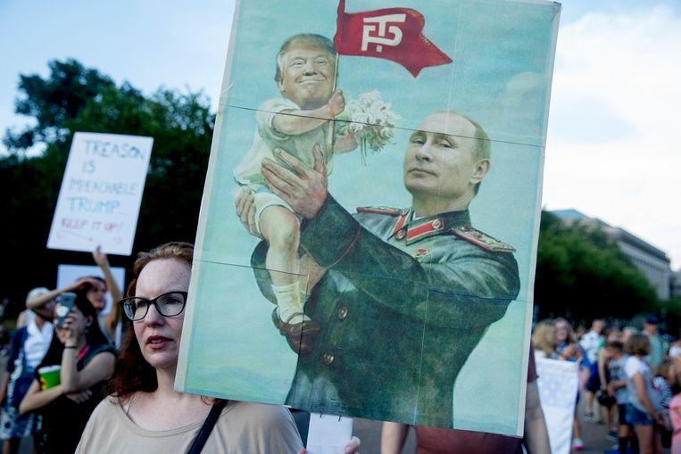 Demonstranten voor het Witte Huis in Washington. Beeld AP