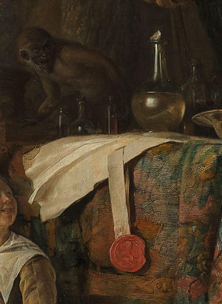 Gerrit Dou, Detail uit De kwakzalver, 1652.  Beeld Museum Boijmans Van Beuningen Rotterdam