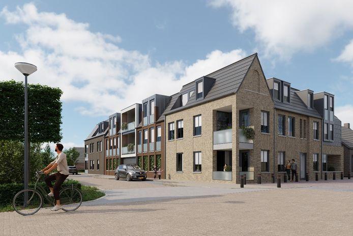 Een impressie van hoe het Heilig Hartplein er straks uit kan zien met zestien appartementen.