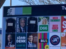 Mark Rutte en Wopke Hoekstra letterlijk zwartgemaakt op verkiezingsborden in Westland