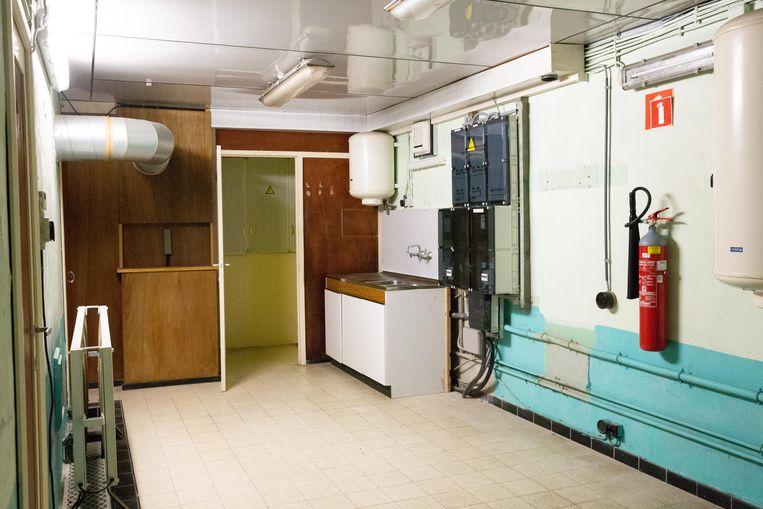 Een keukentje in de bunker, geplaatst door de Civiele Bescherming in de jaren na de oorlog.